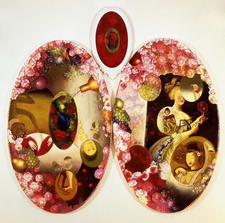 "An Unreliable Narrative, 84"" × 84"", mixed media on canvas, 1994"