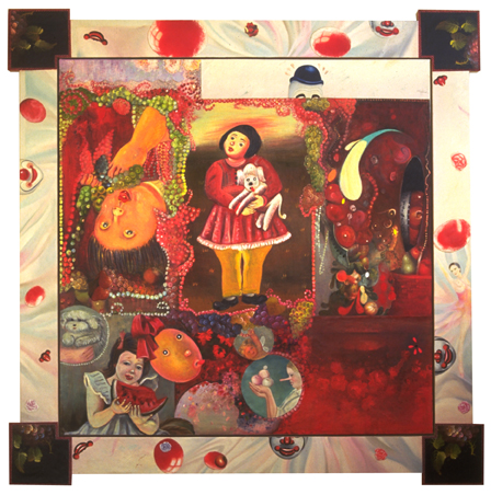 "Avarice, 49"" × 49"", mixed media on canvas, 1995"