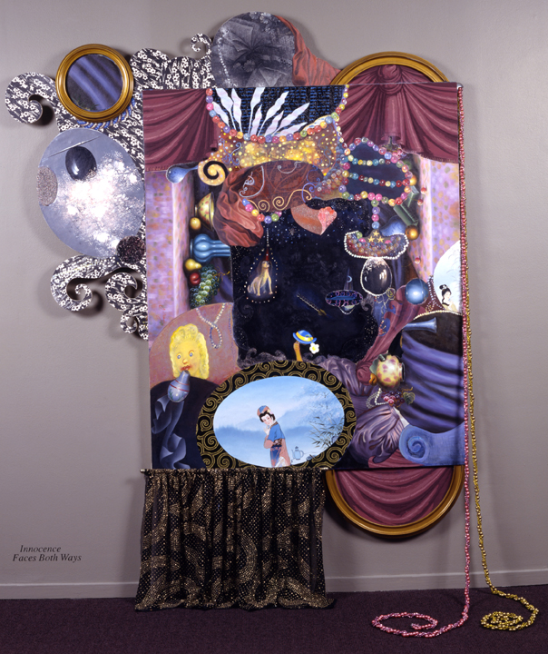"Innocence Faces Both Ways, 96"" × 68"", mixed media on canvas, 1998"
