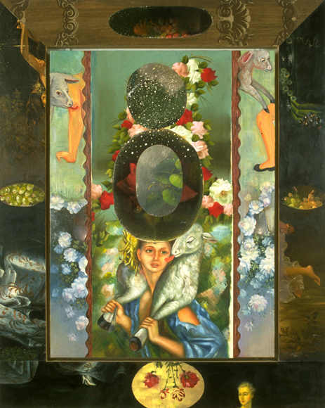 "Ornaments of Speech (Licking the Skin), 60"" × 48"", mixed media on canvas, 1994"