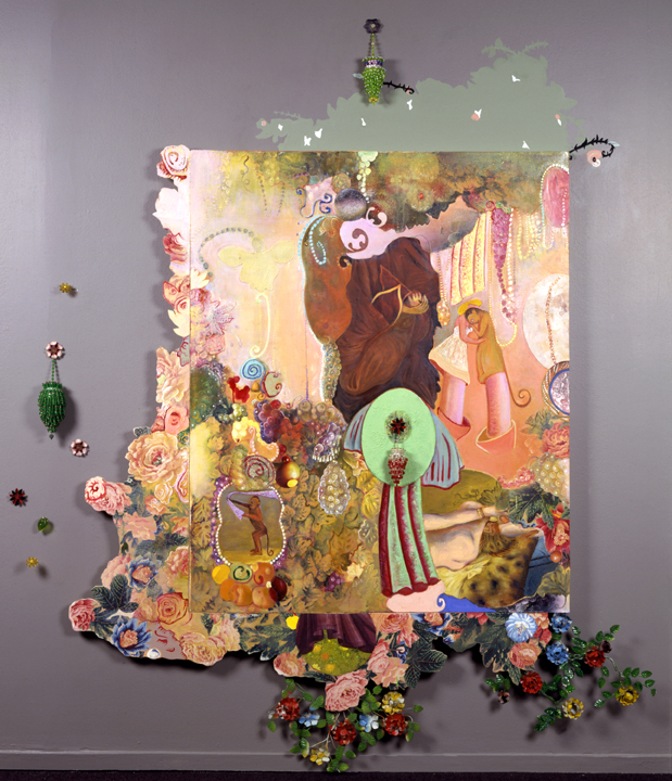"Tokens of Affection, 91"" × 71"", mixed media on canvas, 1998"