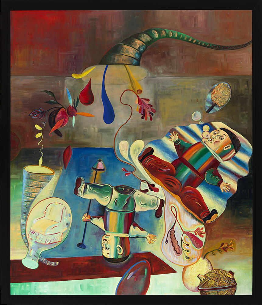 "Decoys, 84"" × 72"", oil on canvas, 1989"