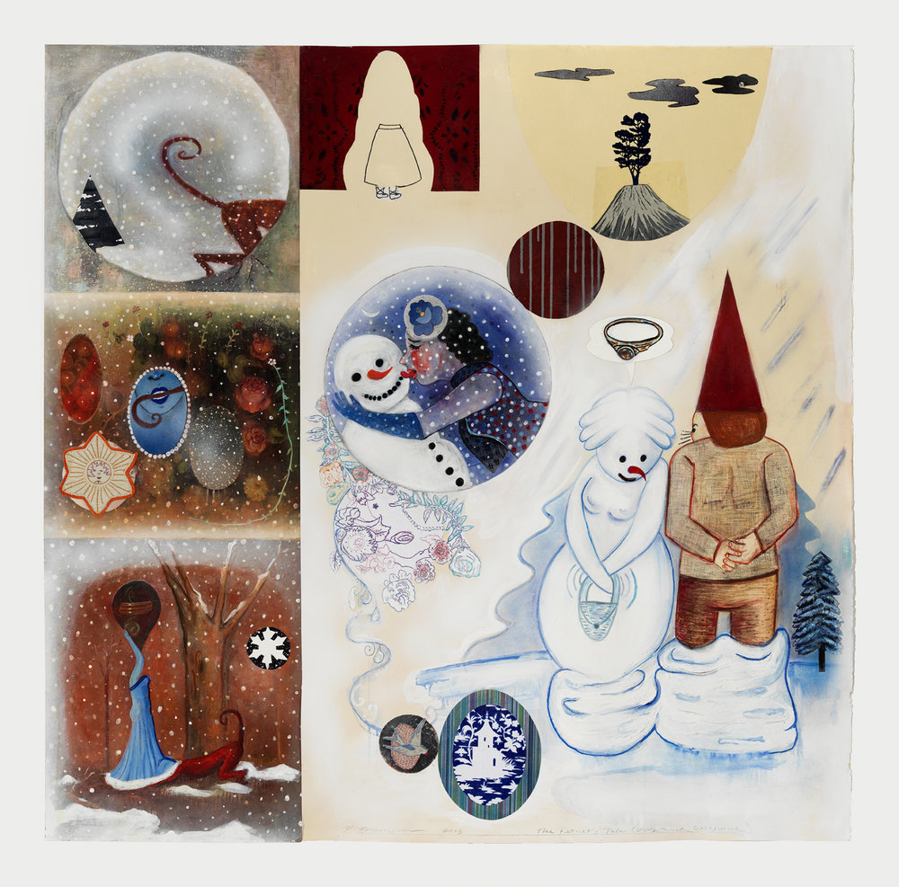 "A Winter Fable (The Fetishists), 60"" × 60"", mixed media and canvas on paper, 2016"