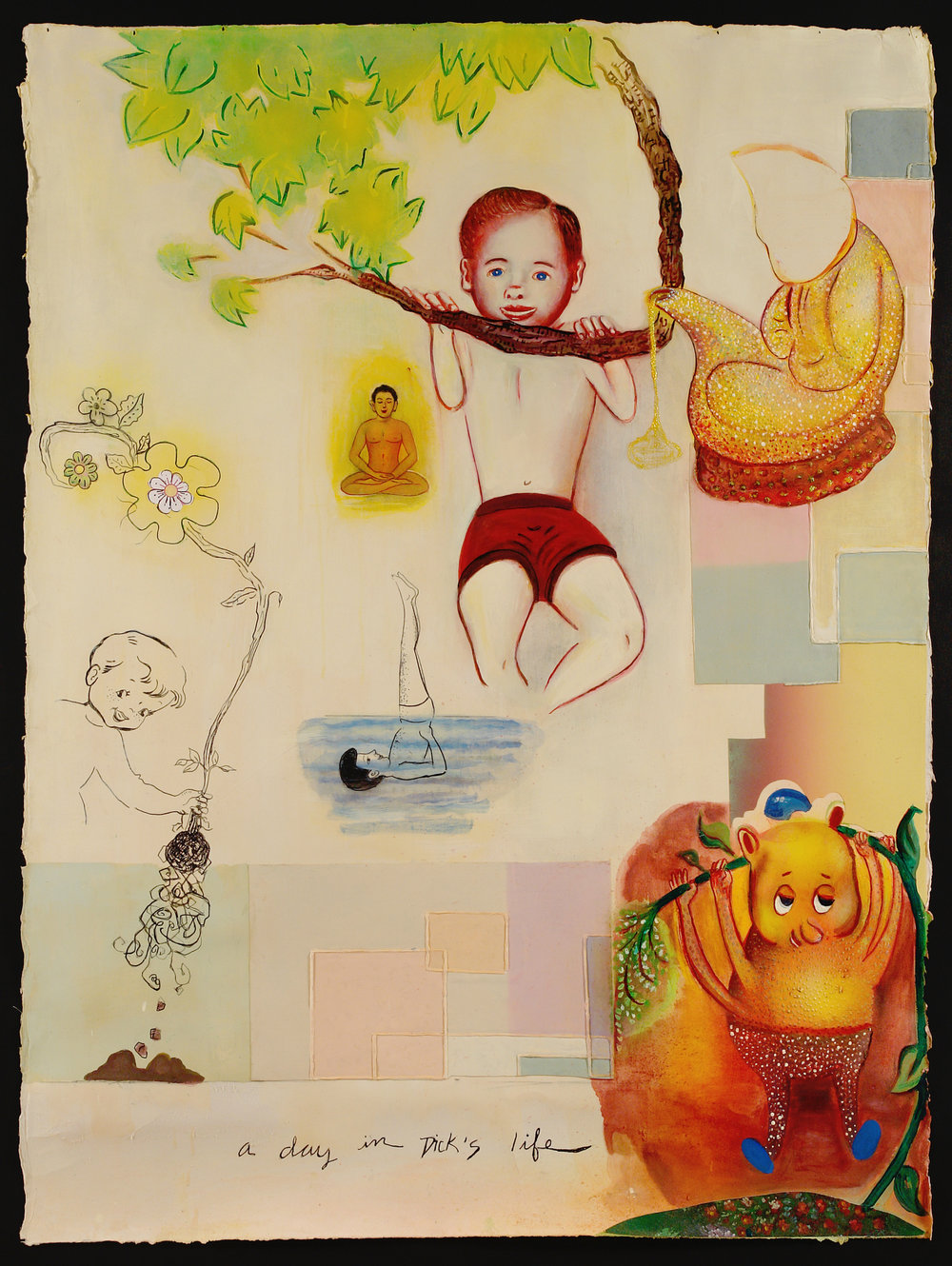 "A Day in Dick's Life, 55"" × 41"", mixed media and collage on paper, 2007"