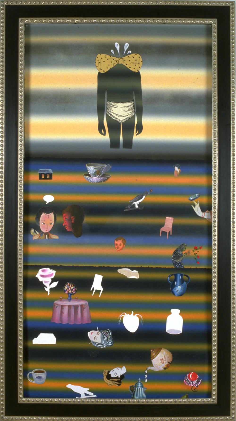 "Muteness Caused by Skepticism, 60"" × 38"", mixed media on paper, 2001"