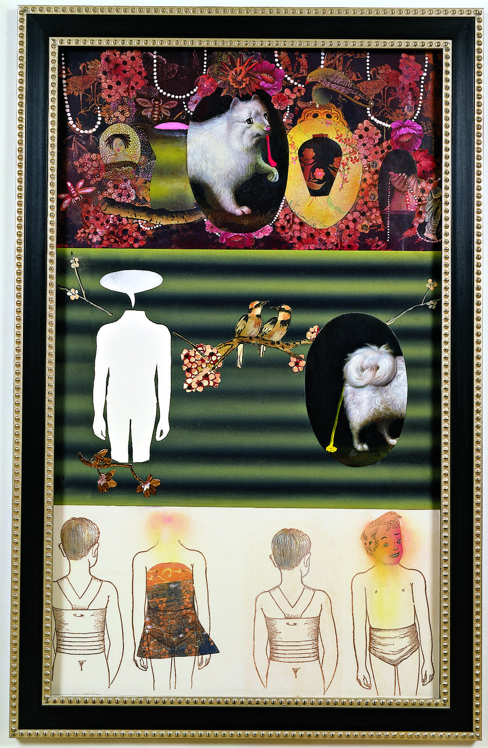 "Demons in the Garden, 60"" × 36"", mixed media on paper, 2001"