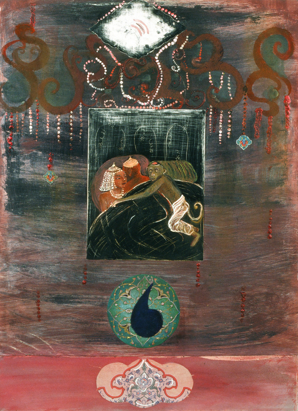 "A woman easily subdued, 30"" × 22"", mixed media and collage on paper, 1997"