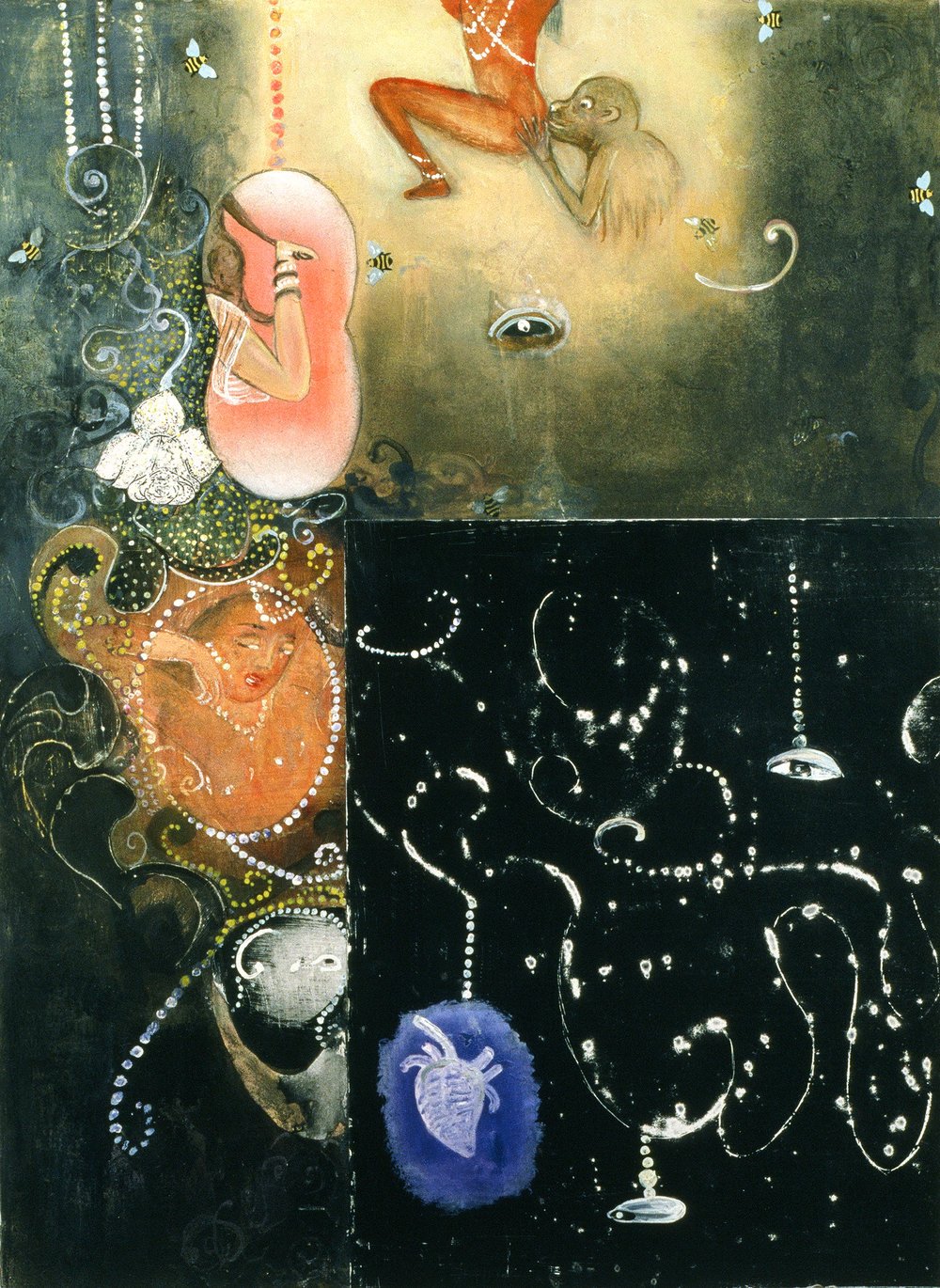 "Places one can kiss, 30"" × 22"", mixed media and collage on paper, 1997"