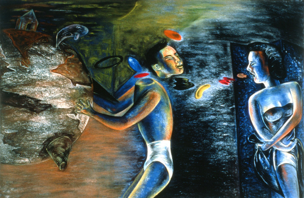 "Loss of Head, 42"" × 88"", pastel on paper, 1988"