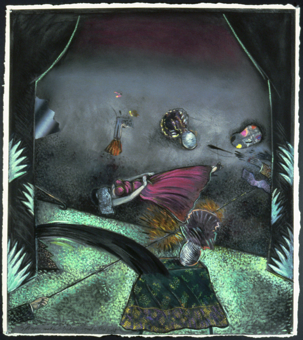 "Black Magic 1, 45"" × 38"", pastel on paper, 1979"