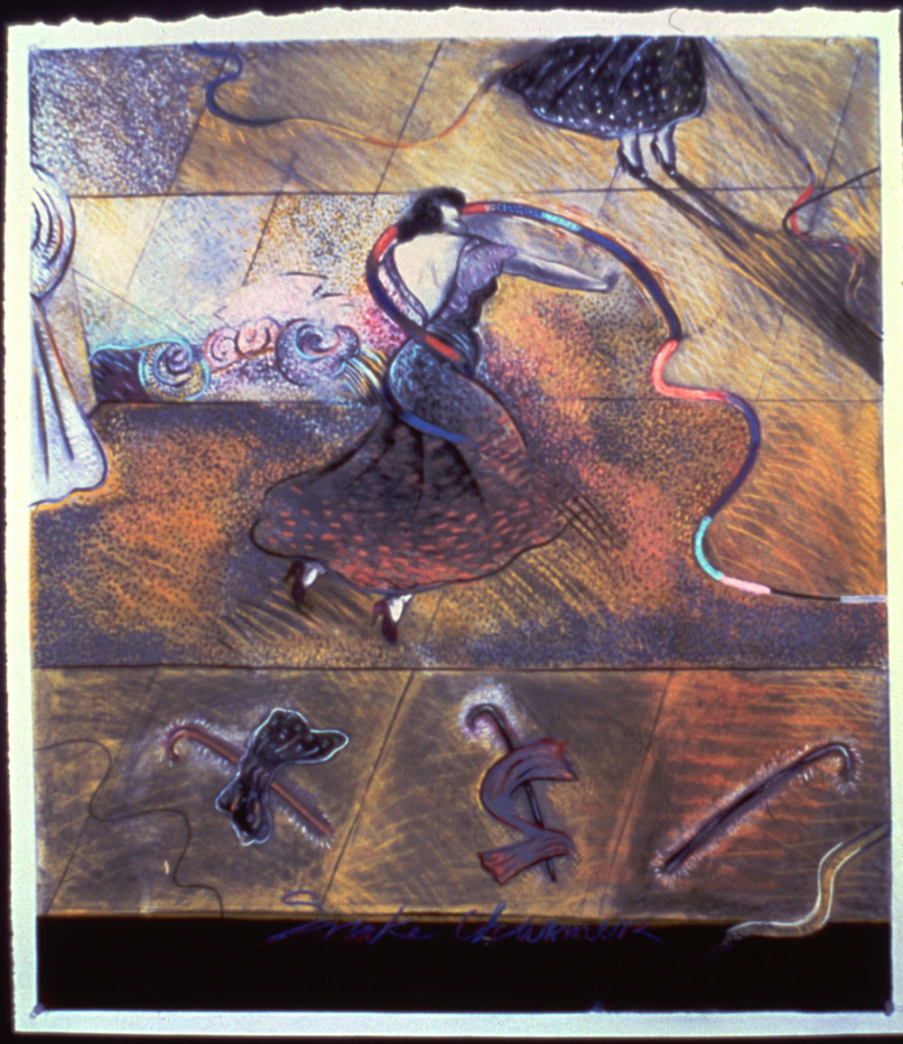 "Fall of Eve #1, 45"" x 38"", pastel on paper, 1979"