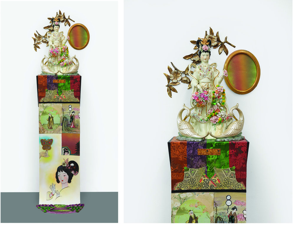 "A Glimpse of Paradise, sculpture/objects: 20"" × 16"" × 13"" Scroll: 53"" × 16"", mixed media, 2015"
