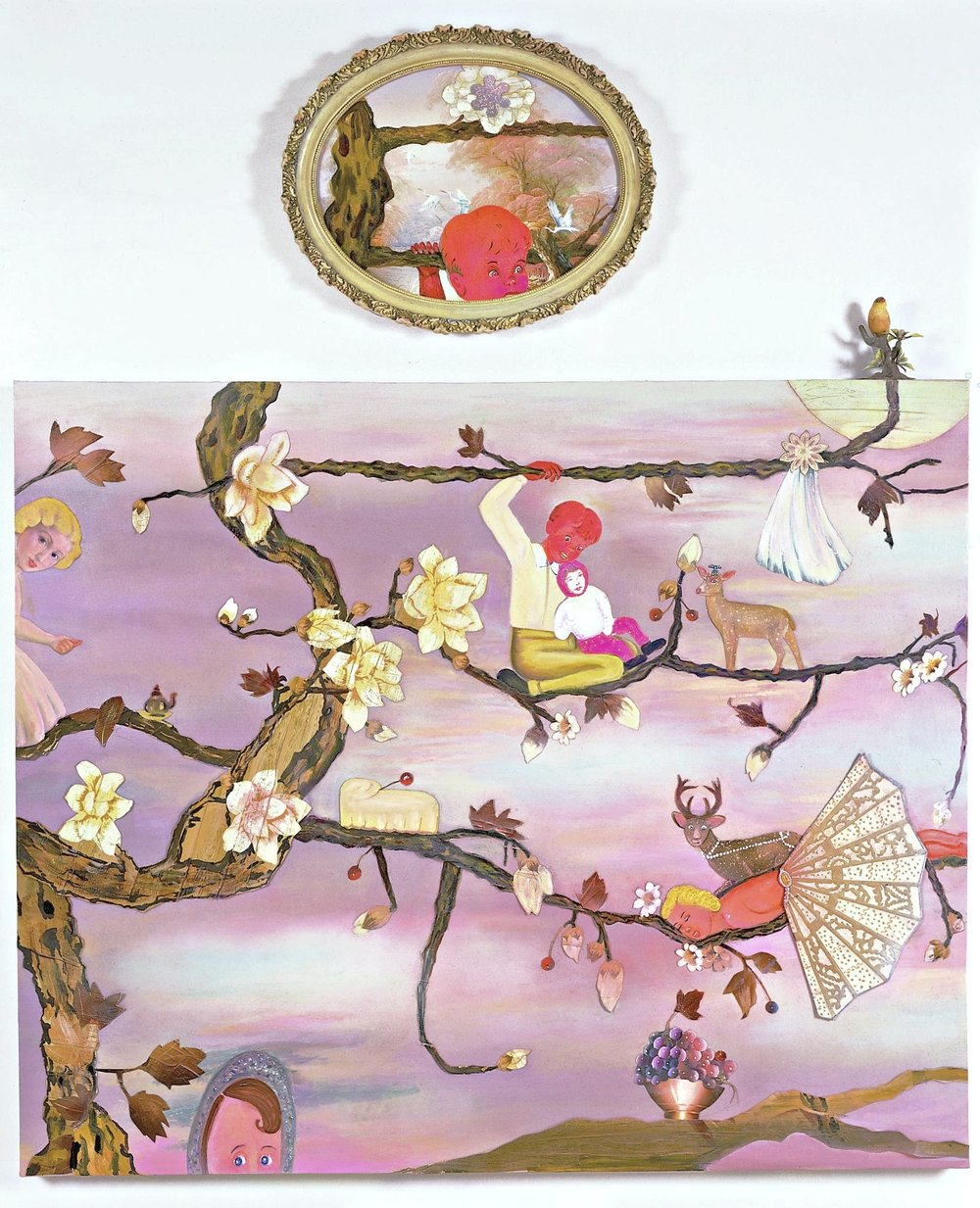 "Born Aloft an Erotic Gust of Wind, 71"" × 60"", mixed media and collage on canvas, 2004"