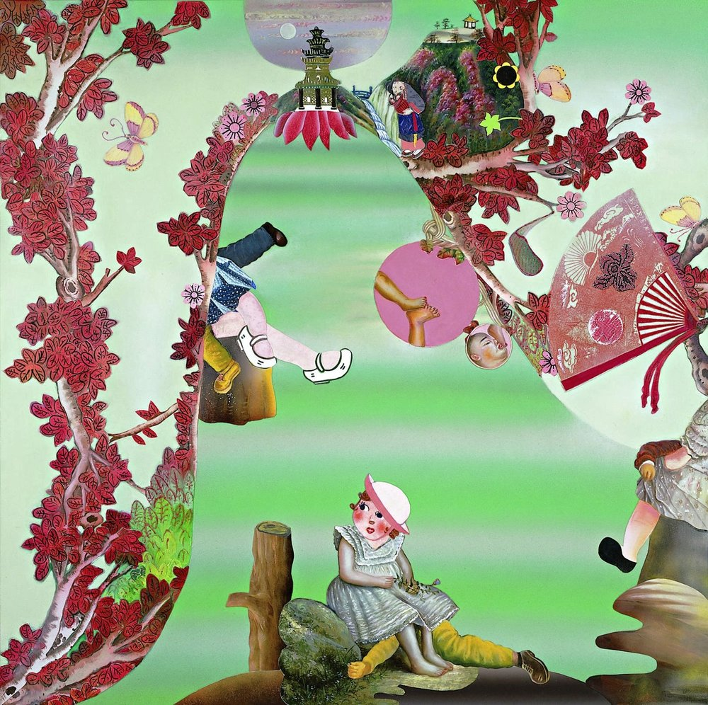 "Acts of Theft, 60"" × 60"", mixed media and collage on canvas, 2003"