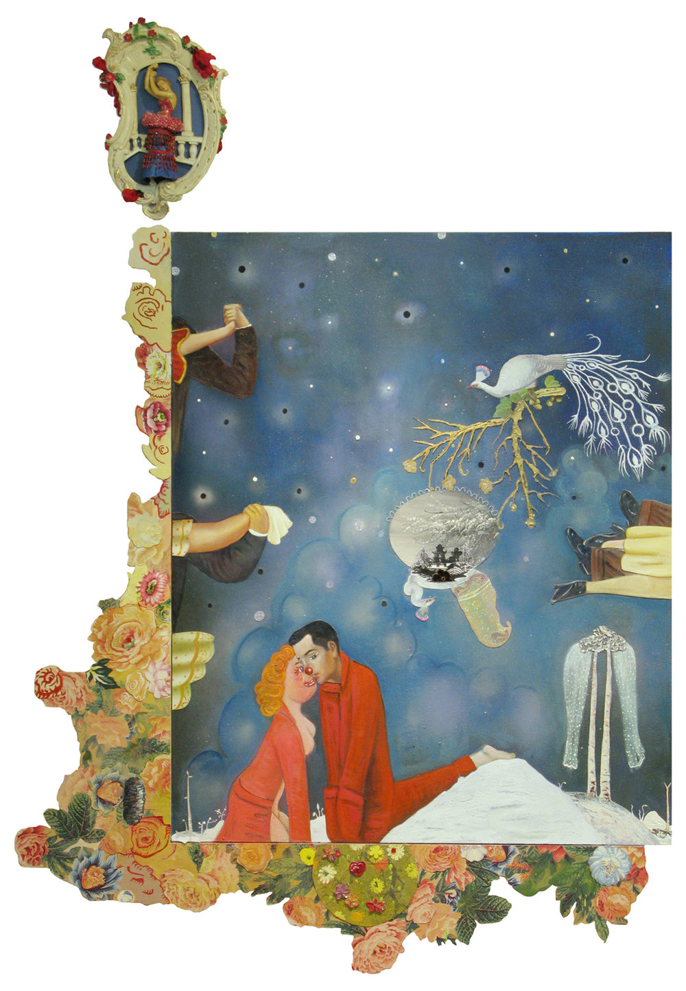 """Dark Was the Night, Cold was the Ground, 83"""" × 58"""", mixed media and collage on canvas, 2010"""