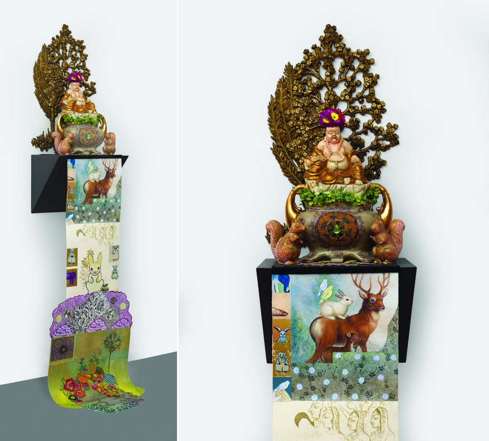 "The Good Keeper of the Animals and Birds, sculpture/objects: 30"" × 16"" × 18"" Scroll: 66"" × 18"", mixed media, 2009 - 2016"