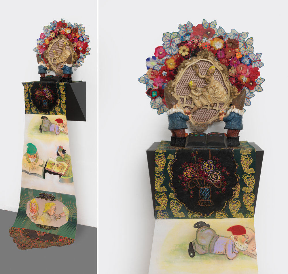 "Stories Before Bedtimes (tales of love), sculpture/objects: 21"" × 21"" × 12"" Scroll: 53"" × 21"", mixed media, 2015"