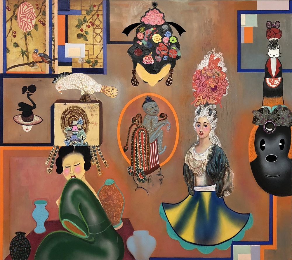 "Fascinators, mixed media and collage on canvas, 70"" x 60"", 2018"