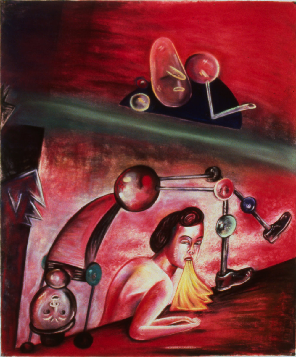 "Impersonator II, 50"" x 42"", pastel on paper, 1988"