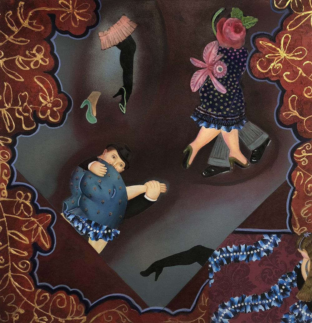 'Rocca's Boogie Woogie Woogie', 36 x 36 in, mixed media on canvas, 2018