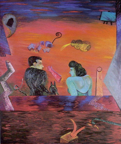 "Portrayals and Betrayals Stage 1, 73"" × 61"", oil on canvas, 1982"