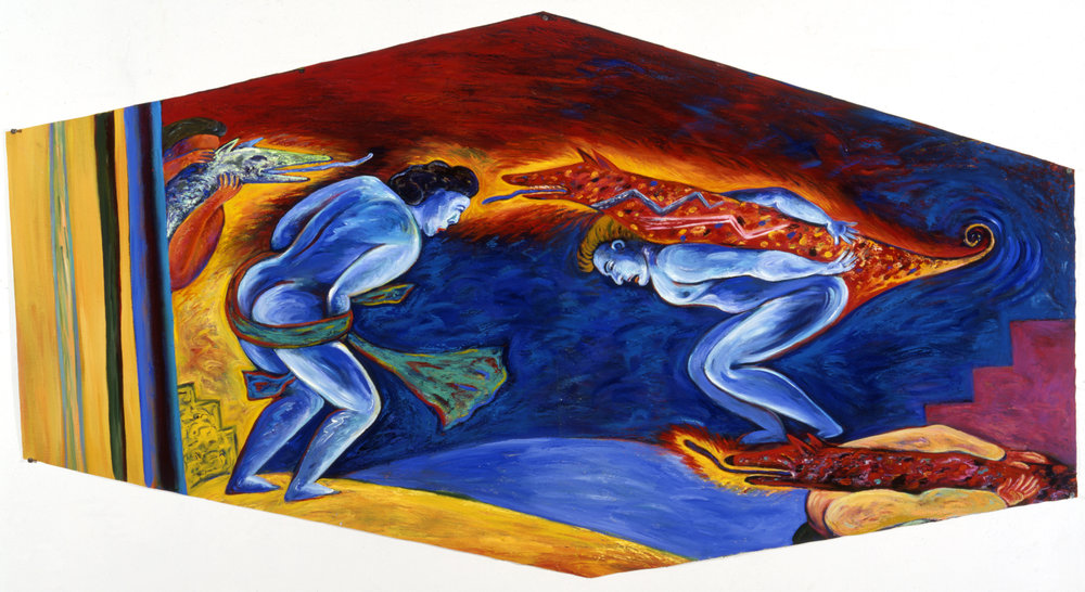 "Human Behavior, 34"" × 78"", oil on canvas, 1986"