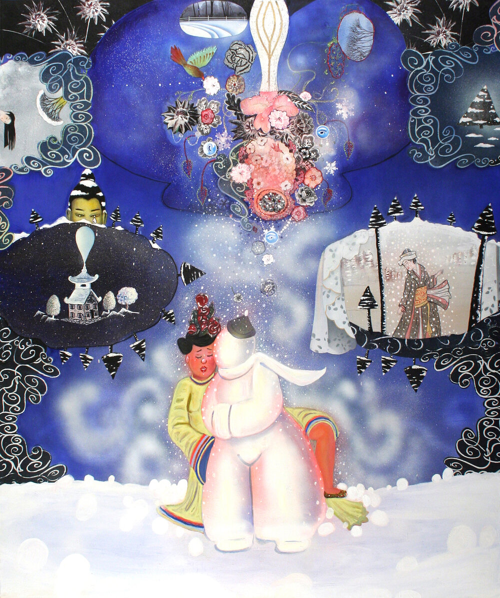 "Hard Emotions: And how to melt them, 70"" × 60"", mixed media and collage on canvas, 2003"
