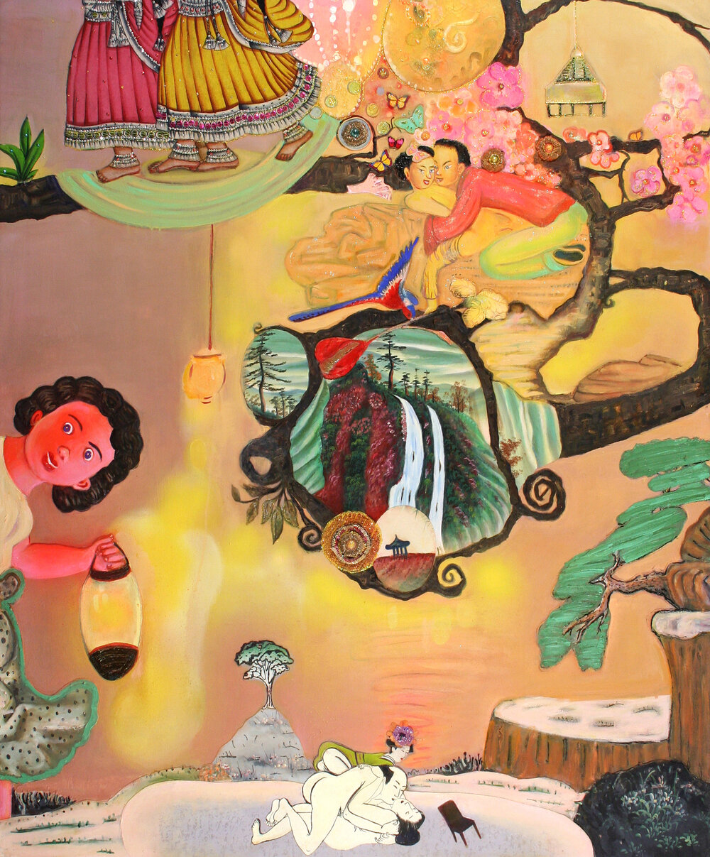 "As Seen in the Night, 60"" × 50"", mixed media and collage on canvas, 2005"
