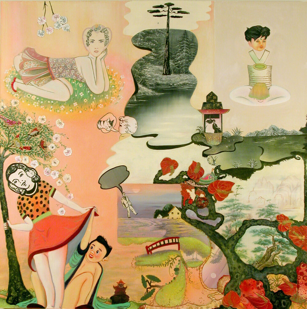 "A Glance, a Glare and a Stare, (oh my!), 60"" × 60"", mixed media and collage on canvas, 2005"