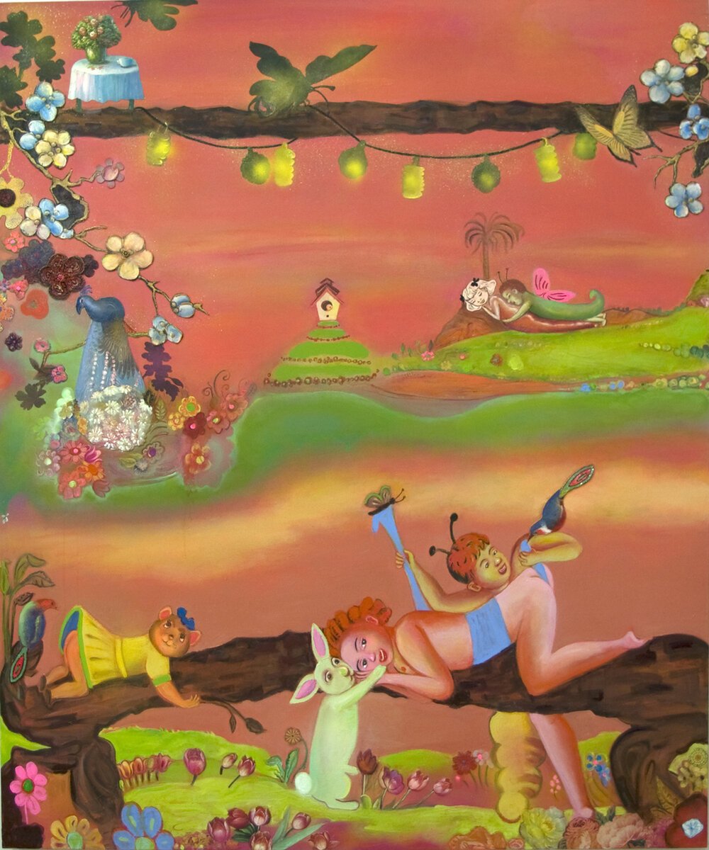 "Courtship Rituals (happiness, even after), 72"" × 60"", mixed media and collage on canvas, 2006"