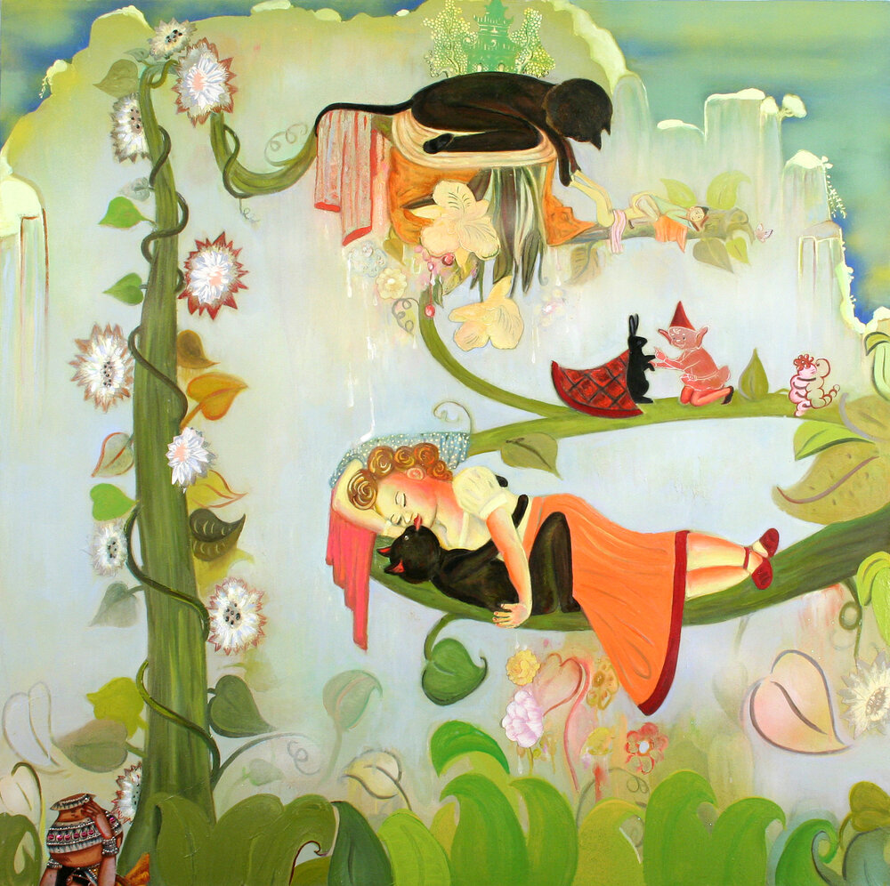 "A Dilly-Dally with Pretty Sally, 60"" × 60"", mixed media and collage on canvas, 2006"