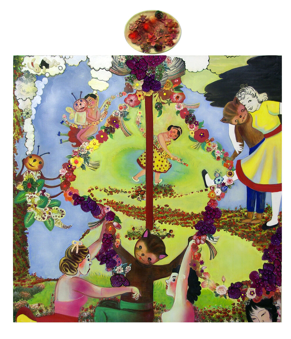 "Ring around the Rosie (soon they'll all fall down), 70"" × 60"", mixed media and collage on canvas, 2008"