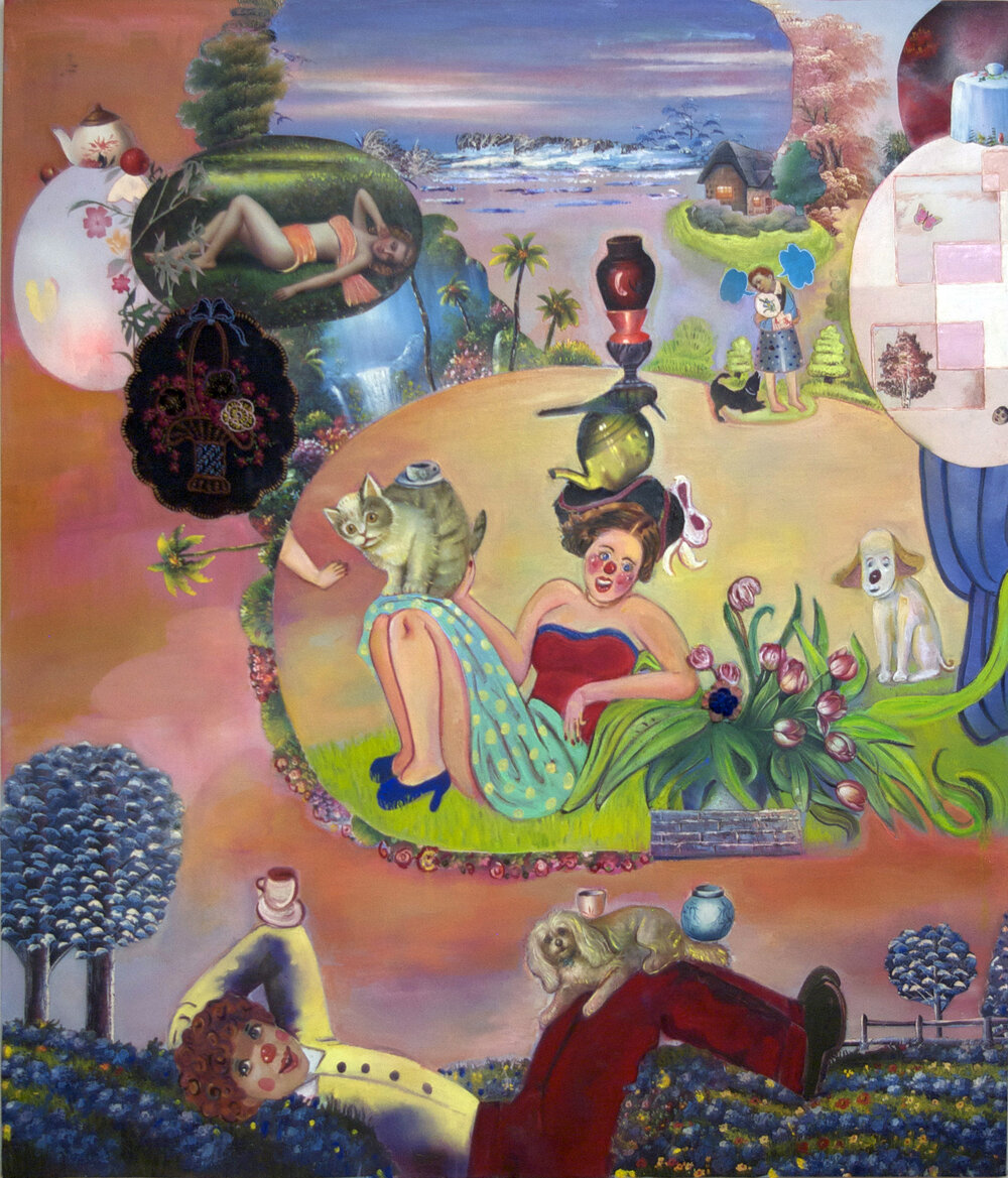 "Animals in the Country...are you listening?, 70"" × 60"", mixed media and collage on canvas, 2008"