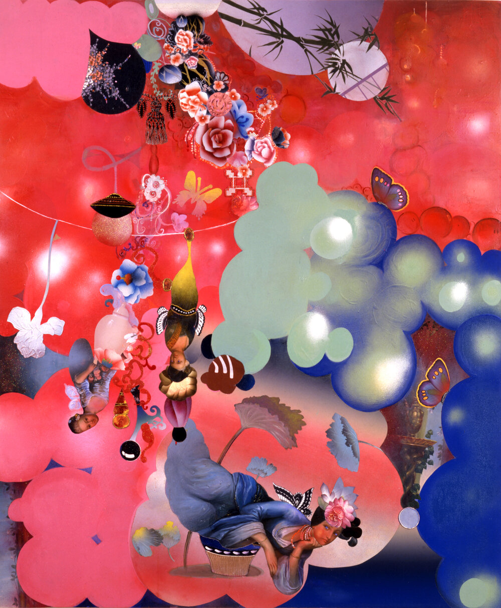 "In the Diamond Light of an Evening's Dream, 83"" × 60"", mixed media on canvas, 2002"