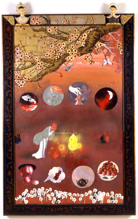 "Springtime Picture (Woman Lit by Fire Flies), 68"" × 43"", mixed media on canvas, 2000"
