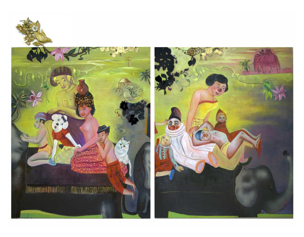 "Traveling to Pleasure Land, 60"" × 96"", mixed media and collage on canvas, 2009"