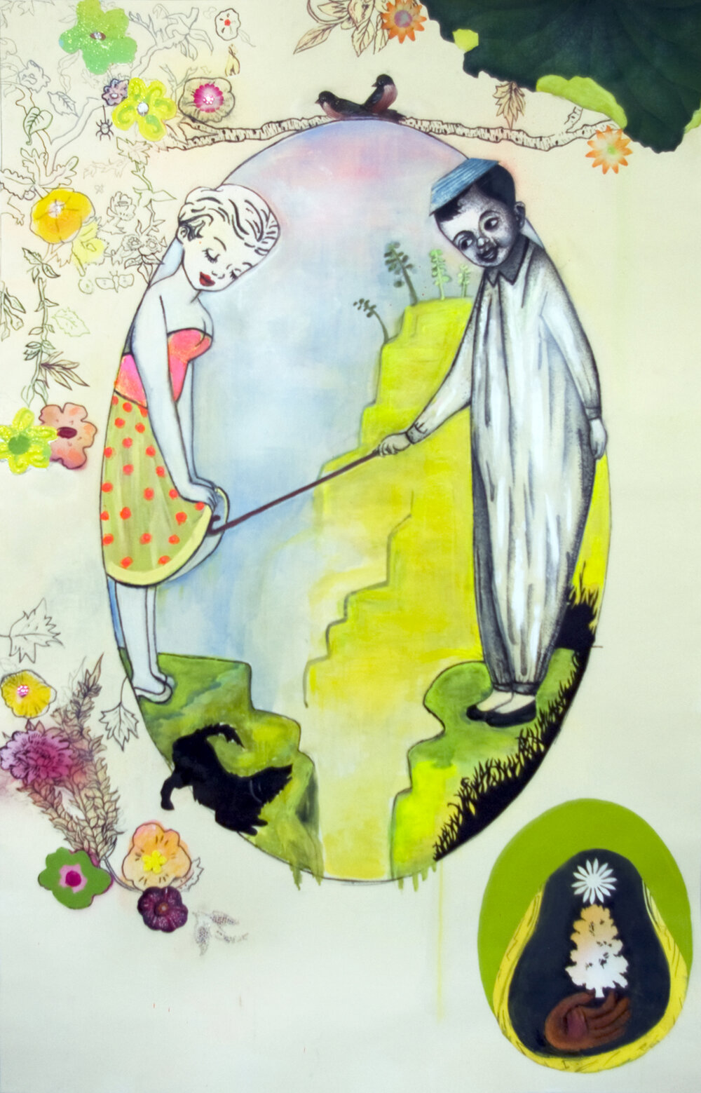 "Little Sentimental Diversions, 56"" × 35"", mixed media on paper, 2009"