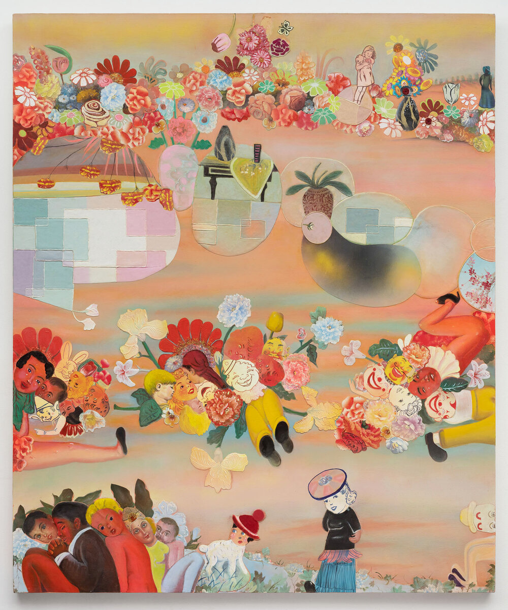 "What Went Wrong?, 70"" × 50"", mixed media and collage on canvas, 2004"