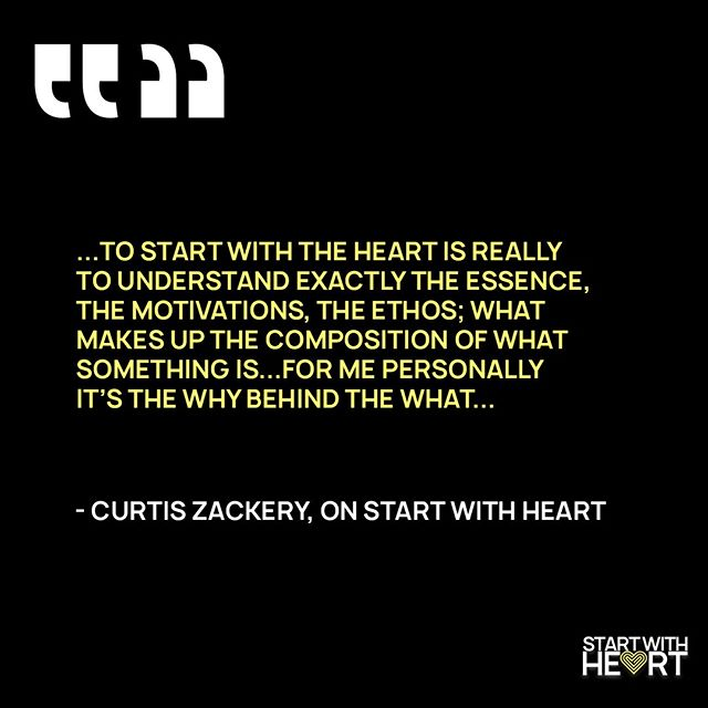 """""""The WHY behind the WHAT."""" Starting with Heart for @whoisCZ is more than just looking internally.  Check out our interview with him on our podcast, Start with Heart to hear more from this amazing speaker and author, Curtis """"CZ"""" Zackery. . . . . . #startwithheart #heart #soulrest #rest #purpose #passion #leadership #Nashville #podcast"""
