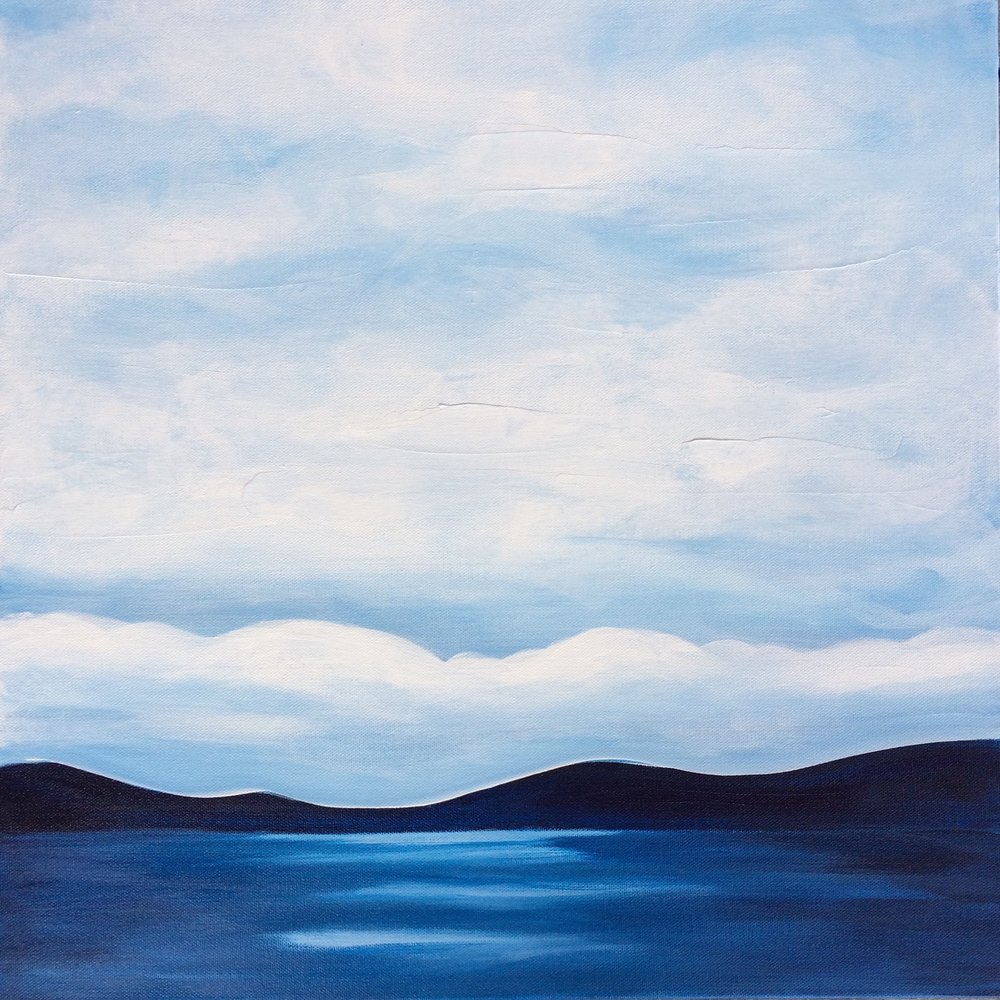 Cloud Reflections; 20 x 20 x 1.5; acrylic on canvas Jill McDougall