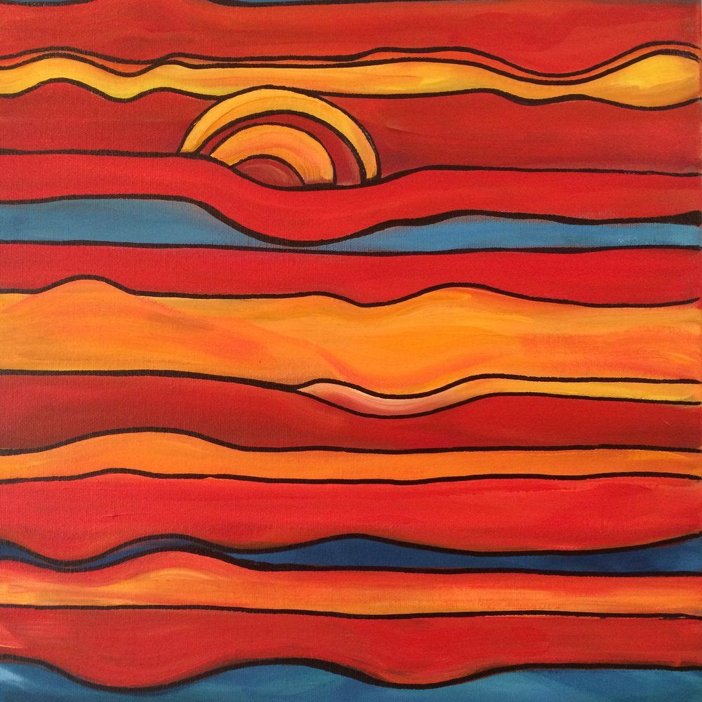 Sun and Sea Abstract; acrylic on canvas; 18 x 18 Jill McDougall Currently displayed at GSB Law, Seattle, WA