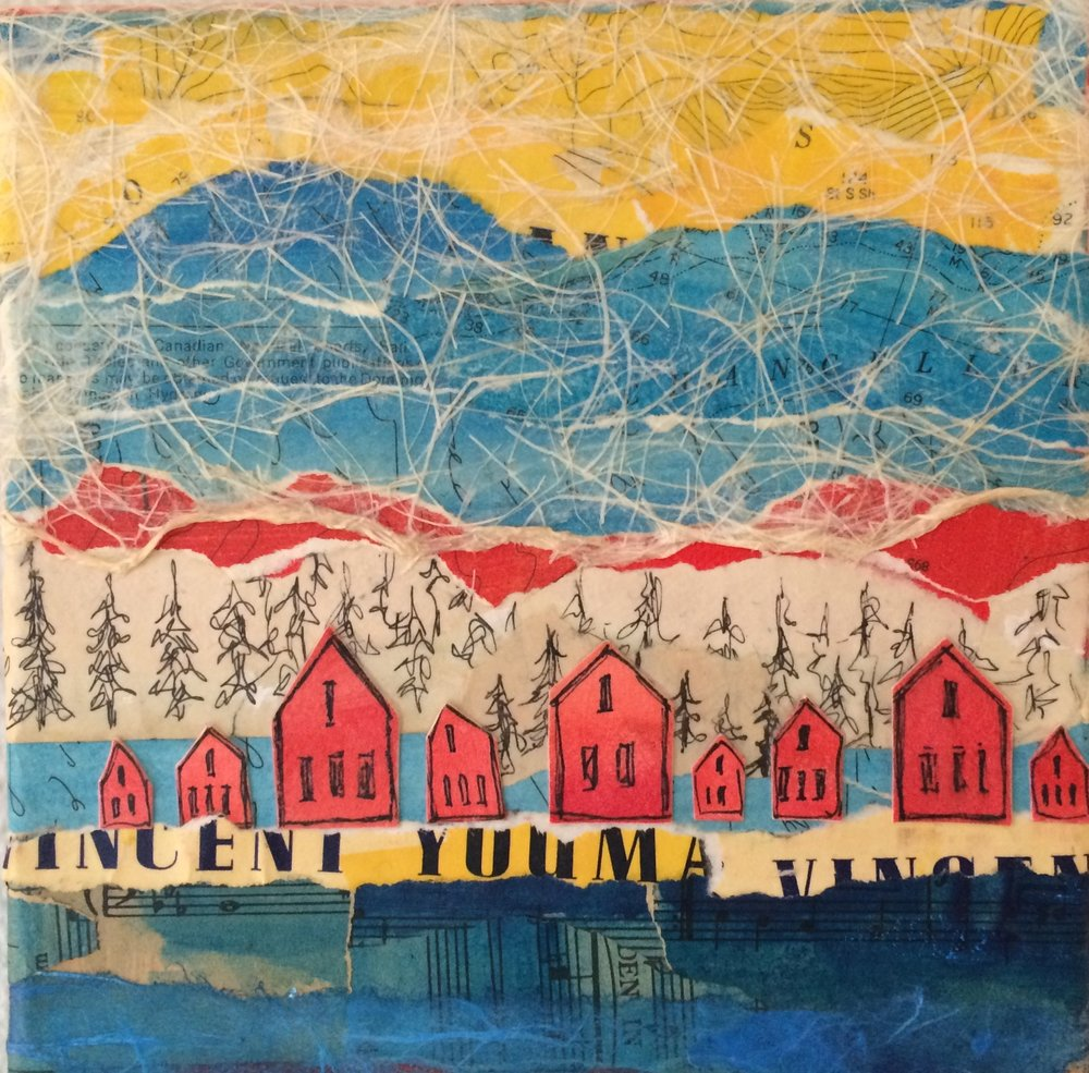 Red Houses; 6 x 6 x 1.5; mixed media on canvas