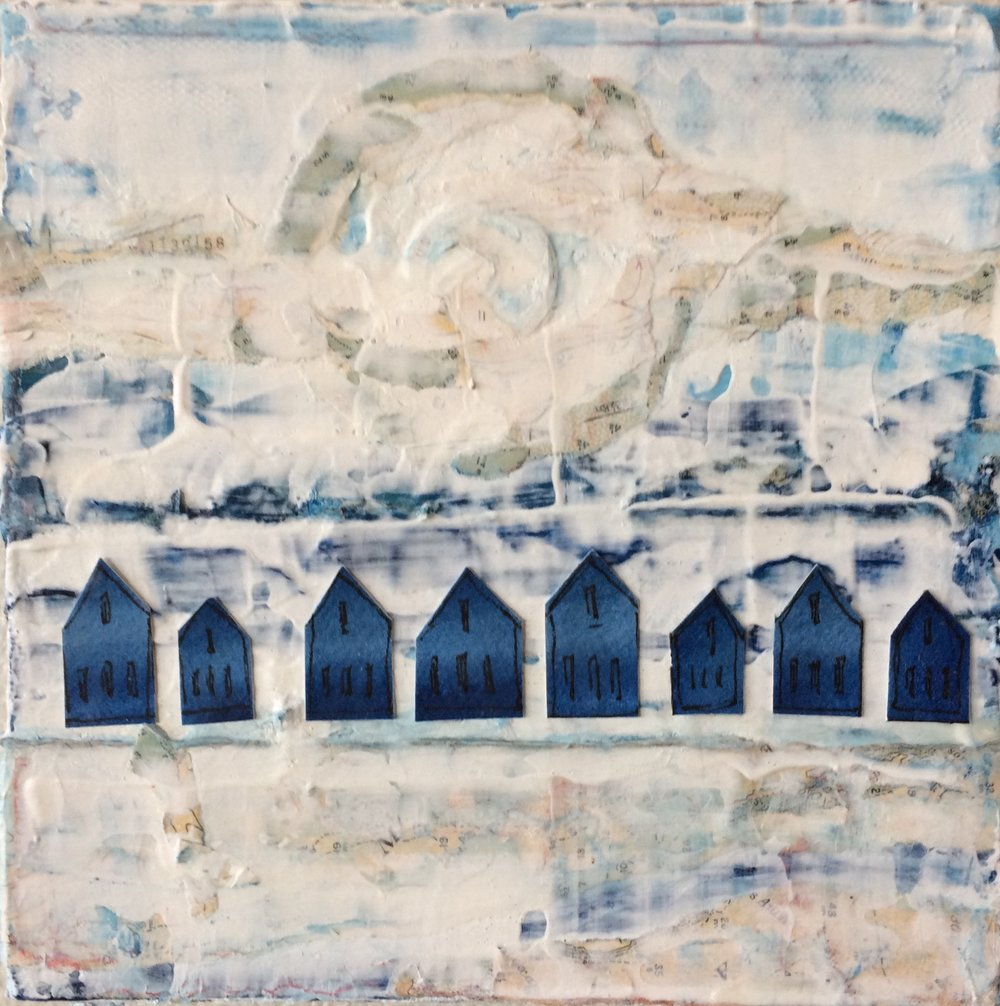 Blue Houses; 6 x 6 x 1.5; mixed media on canvas