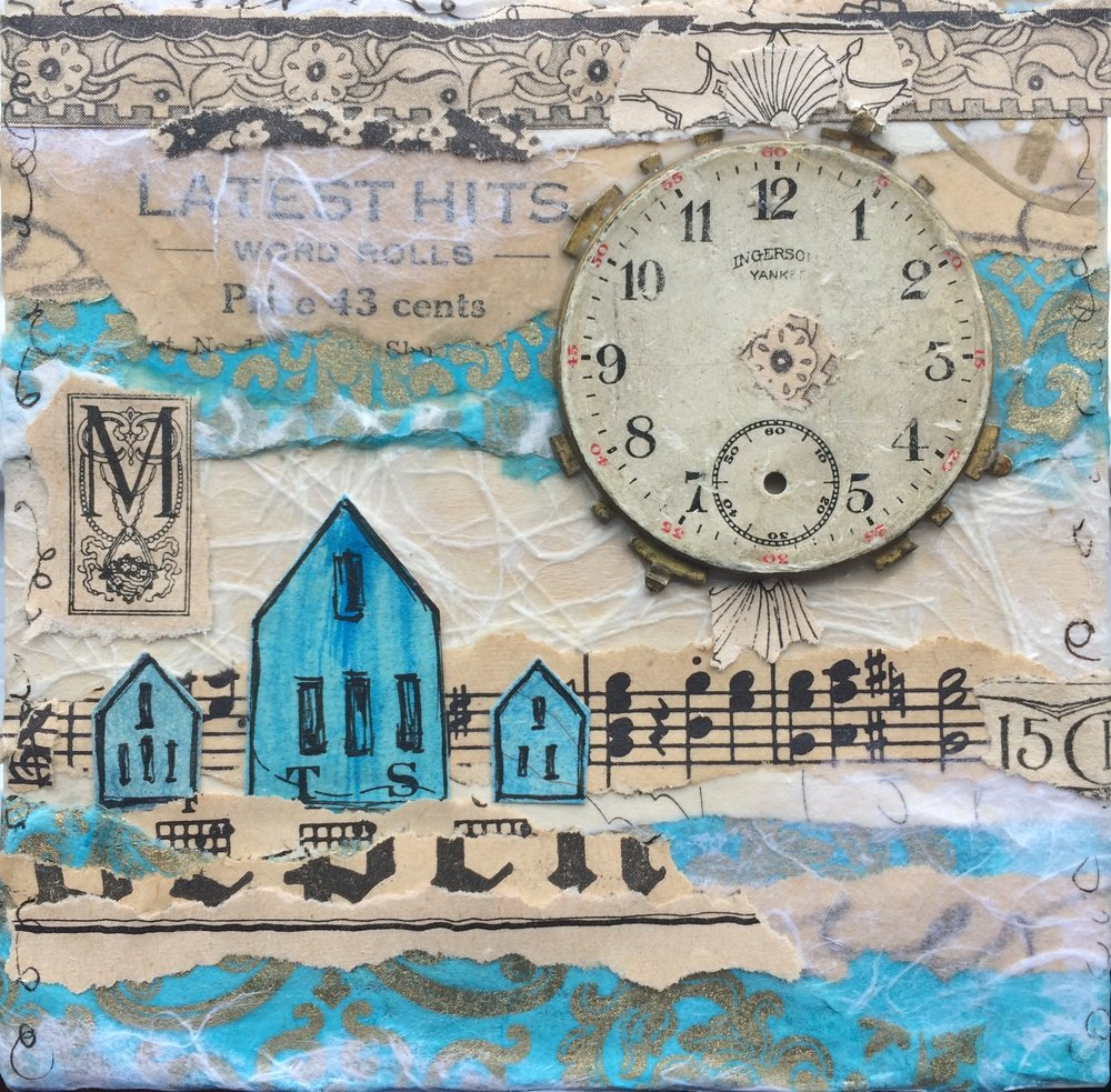 Vintage Village; 4 x 4; mixed media on wood panel