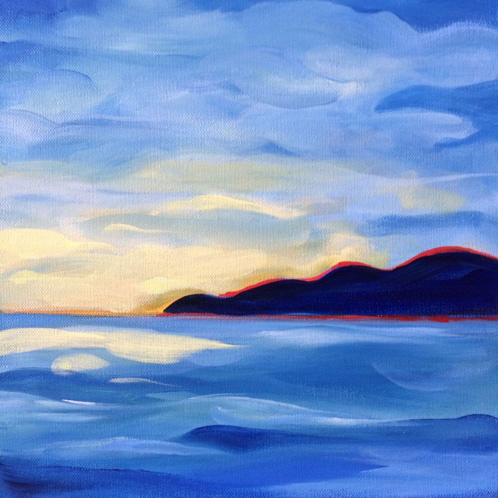 San Juan Sunset II; acrylic; 12 x 12 x 1.5 Jill McDougall Currently on display at GSB Law, Seattle, WA