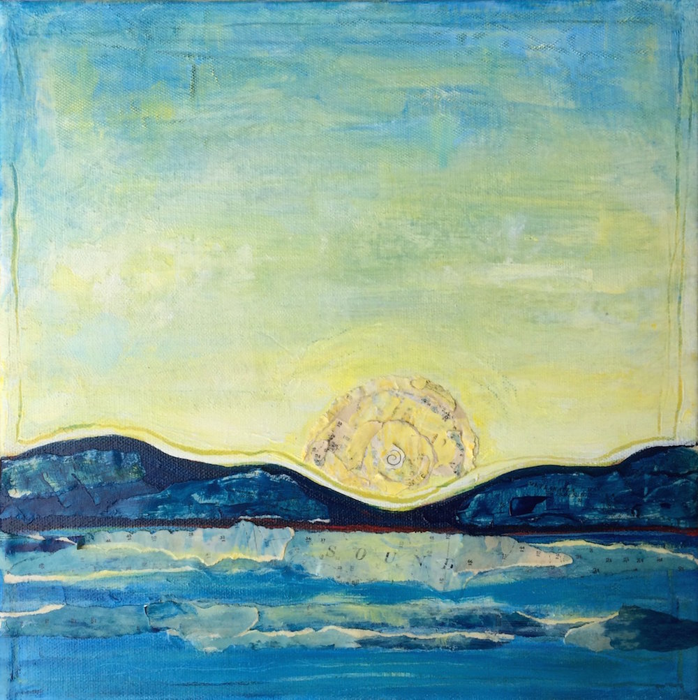 Puget Sound Sunset; mixed media on canvas SOLD Jill McDougall