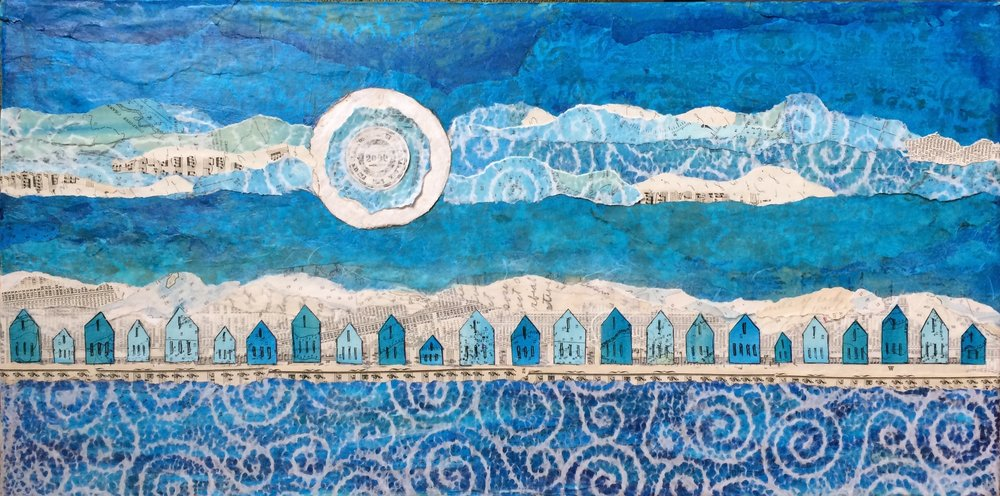 "Once in a Blue Moon; mixed media, 12"" x 24"" Jill McDougall"