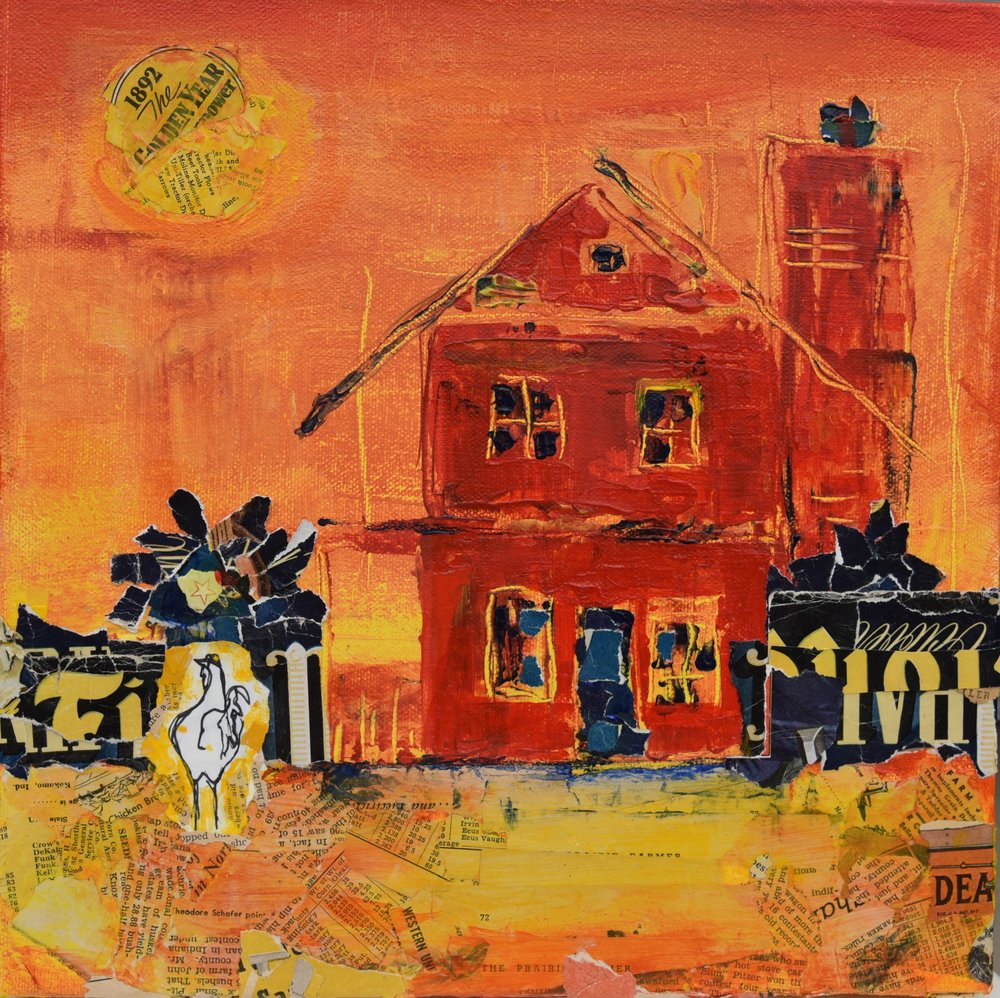 Farmhouse with Chicken; mixed media SOLD Jill McDougall