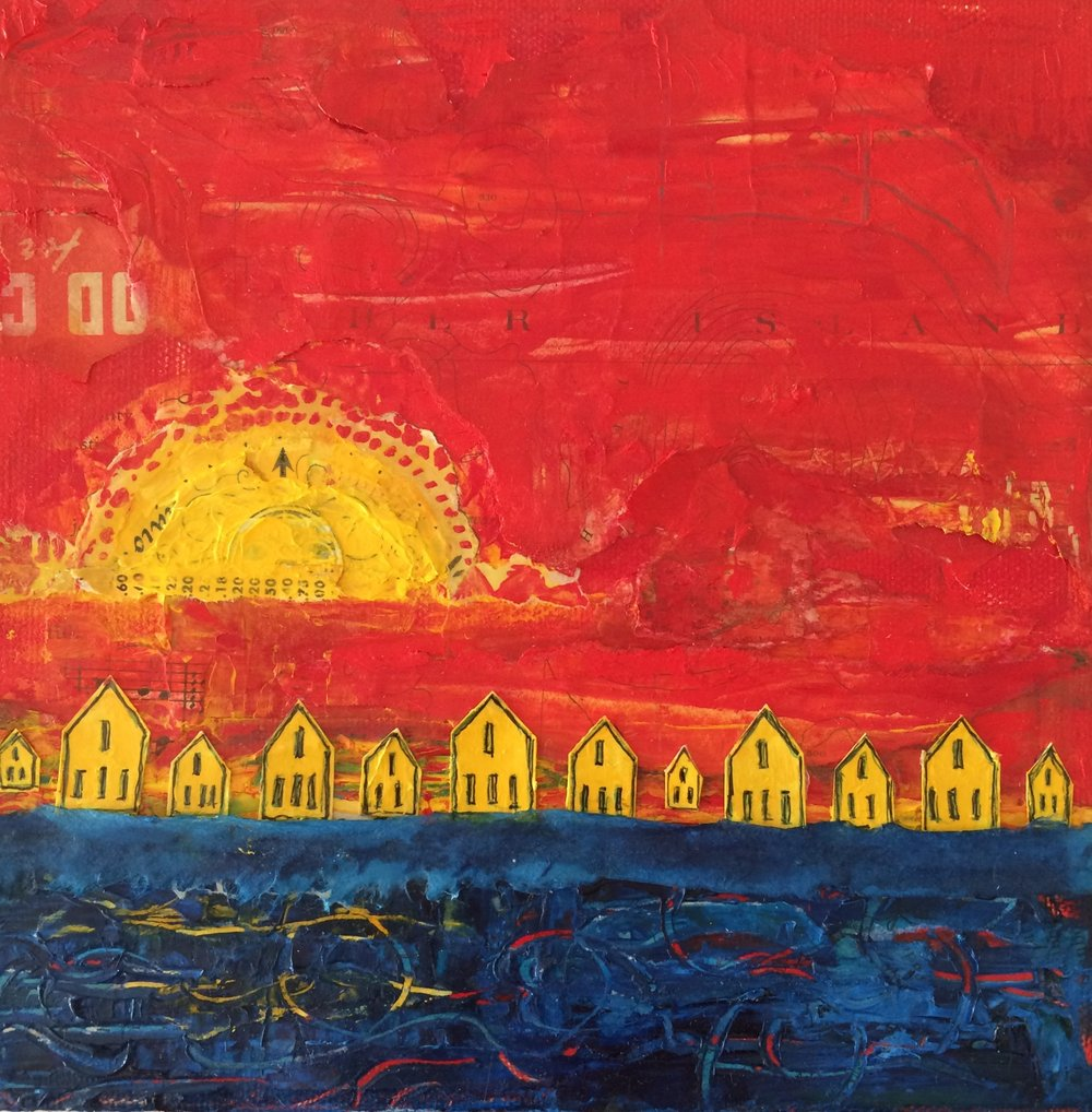 "Yellow Houses, Red Sky; mixed media on canvas, 8"" x 8"" x 1.5"" SOLD Jill McDougall"