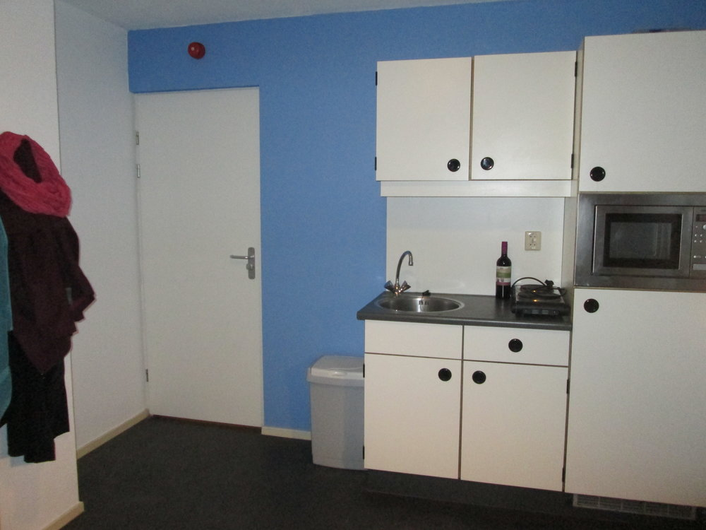 My own insuite kitchen with fridge, microwave, and hot plate.